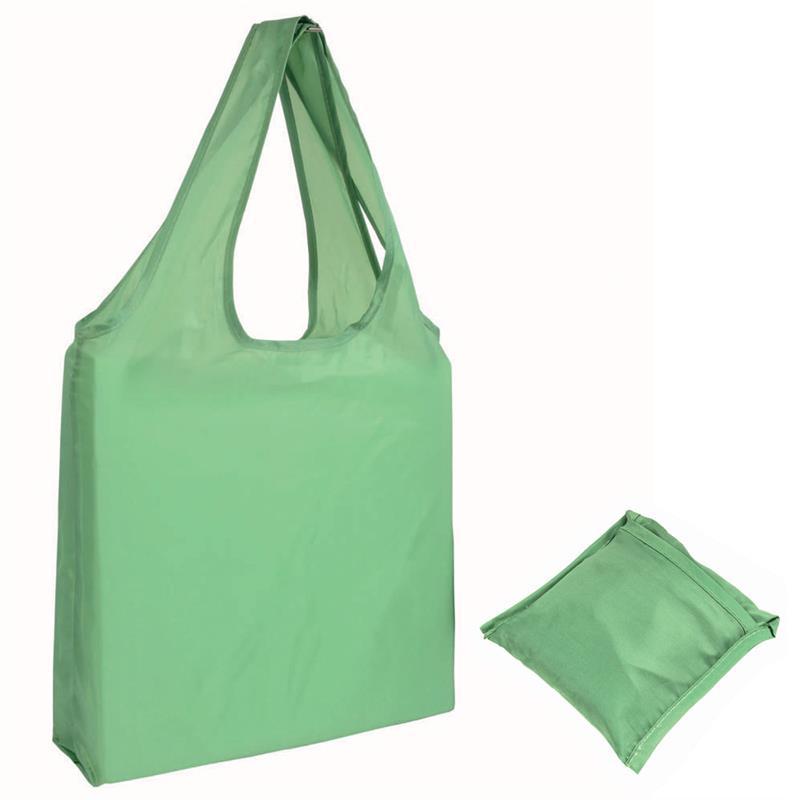 shopper poliestere verde mela senza soffietti ripiegabile in bustina