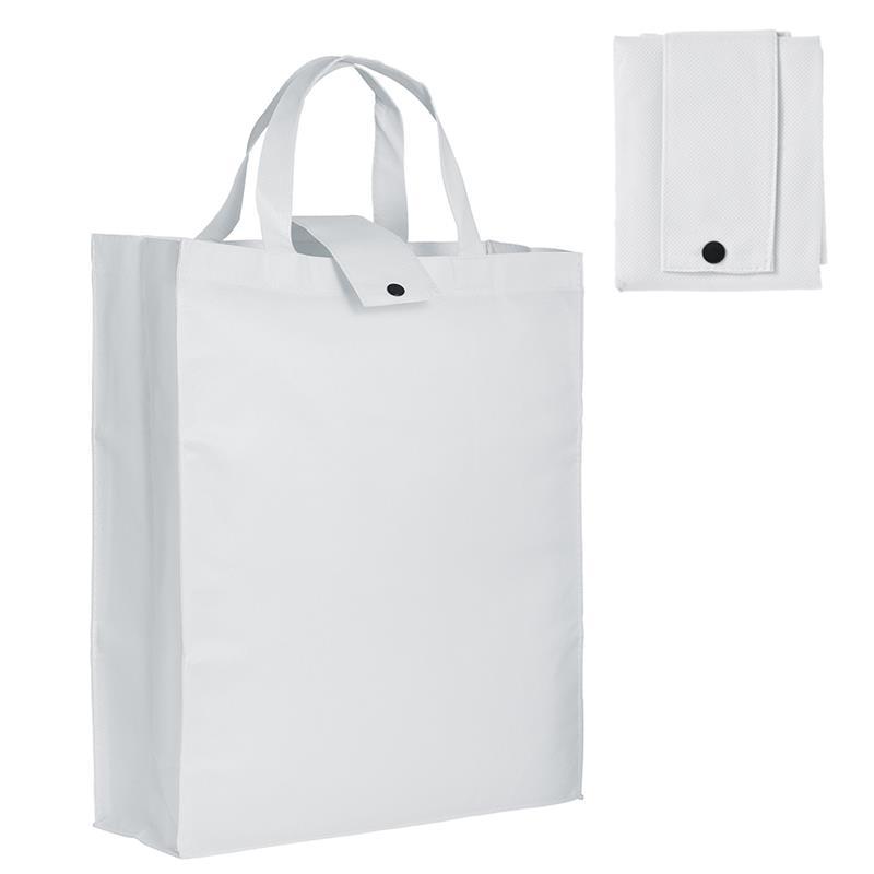 shopper pieghevole in tnt bianco con soffietti e manici tnt