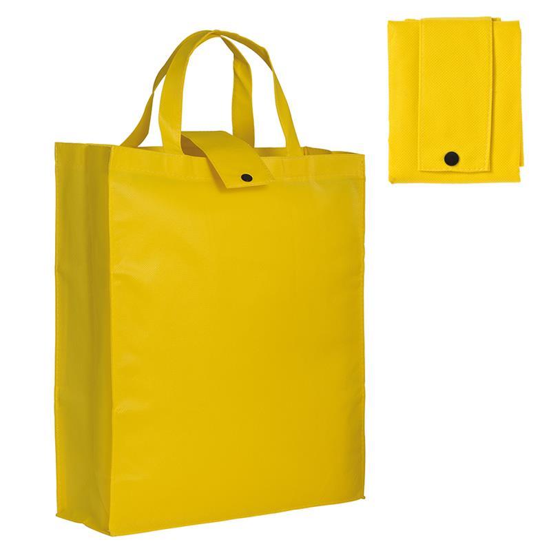 shopper pieghevole in tnt giallo con soffietti e manici tnt
