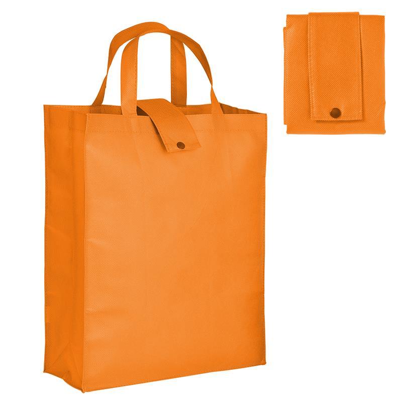 shopper pieghevole in tnt arancio con soffietti e manici tnt