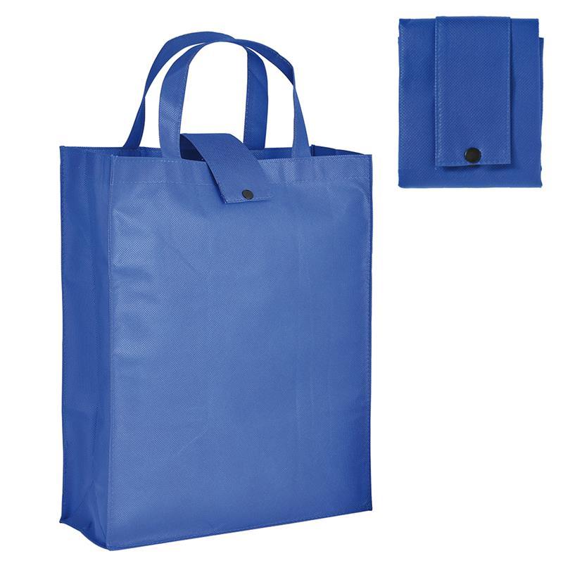 shopper pieghevole in tnt blu royal con soffietti e manici tnt