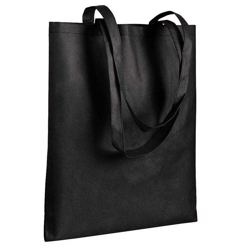 shopper in tnt nero senza soffietti manici tnt