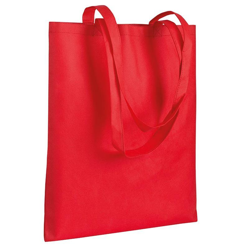 shopper in tnt rosso senza soffietti manici tnt