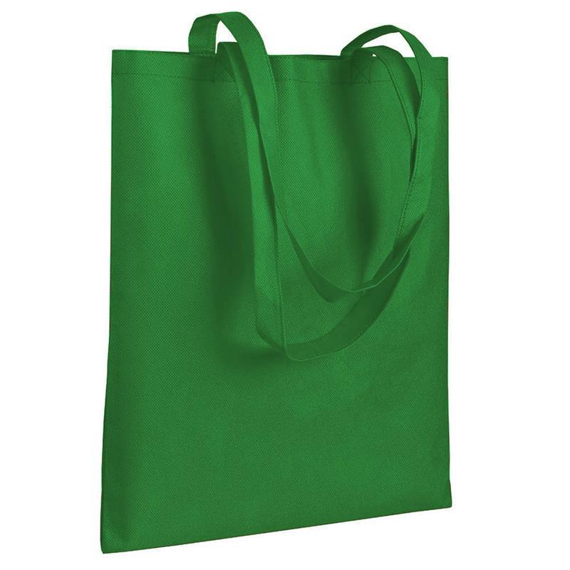 shopper in tnt verde senza soffietti manici tnt