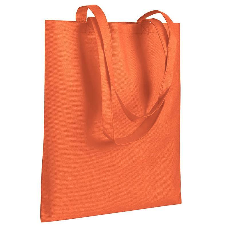 shopper in tnt arancio senza soffietti manici tnt