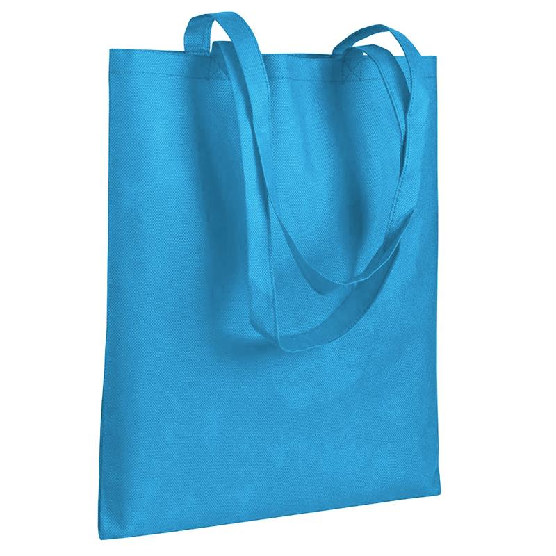 shopper in tnt celeste senza soffietti manici tnt