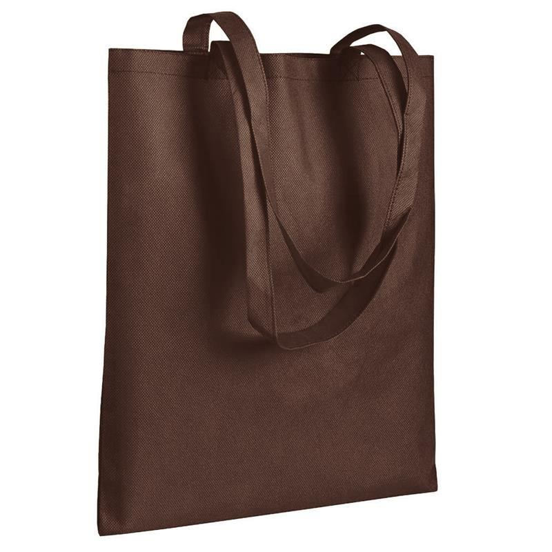 shopper in tnt marrone senza soffietti manici tnt