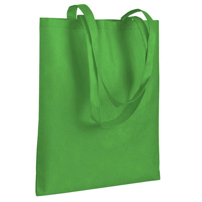 shopper in tnt verde mela senza soffietti manici tnt