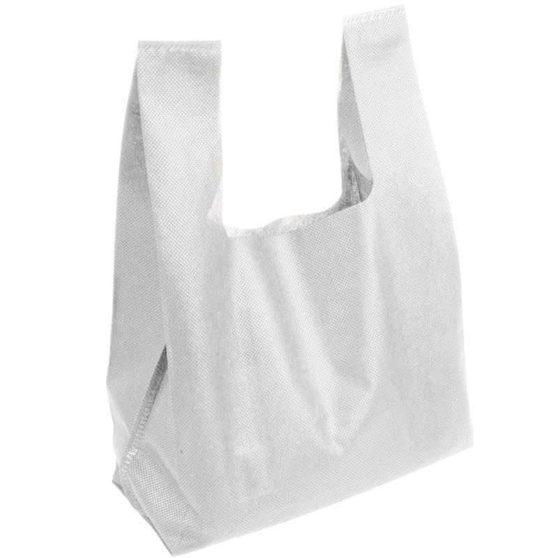 shopper in tnt bianco con soffietti manici tnt a canottiera
