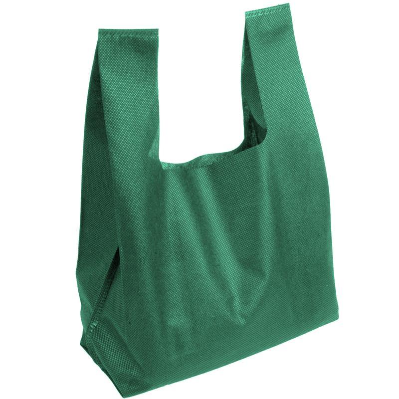 shopper in tnt verde con soffietti manici tnt a canottiera