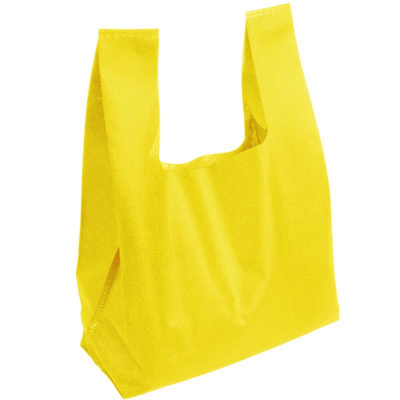shopper in tnt giallo con soffietti manici tnt a canottiera