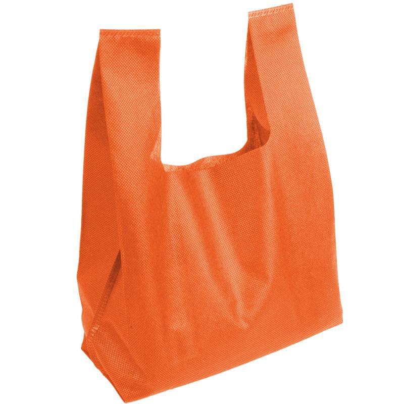 shopper in tnt arancio con soffietti manici tnt a canottiera