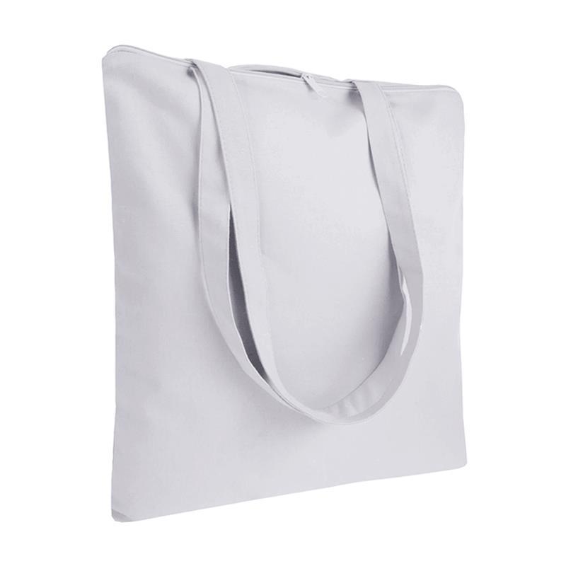 shopper in cotone bianco senza soffietti chiusura zip manici cotone