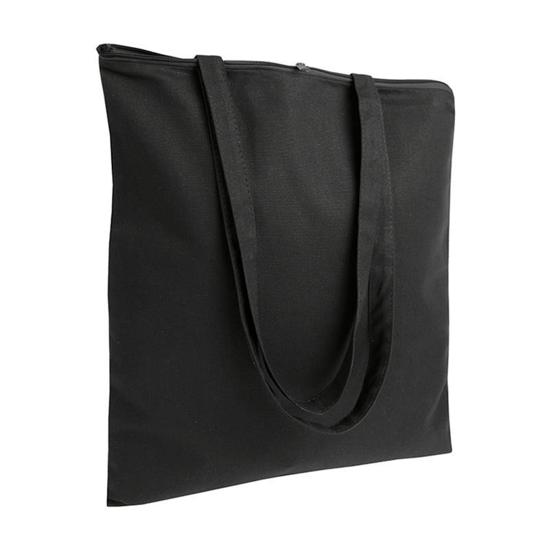 shopper in cotone nero senza soffietti chiusura zip manici cotone