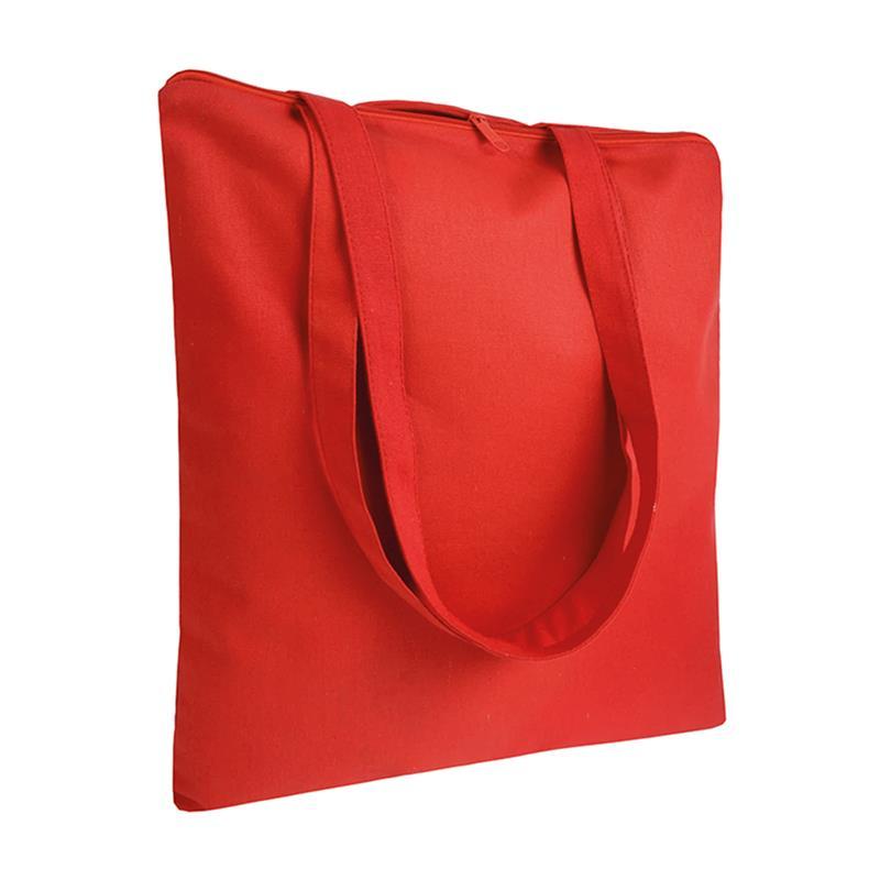 shopper in cotone rosso senza soffietti chiusura zip manici cotone