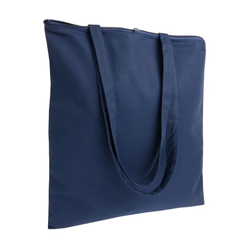 shopper in cotone blu navy senza soffietti chiusura zip manici cotone