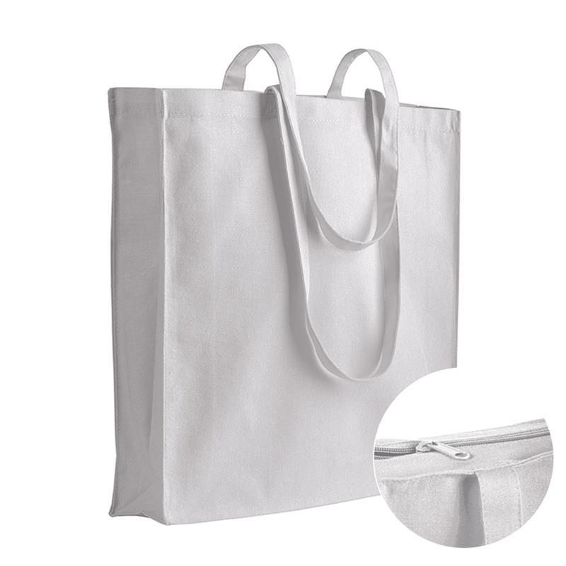 shopper in cotone bianco con soffietti chiusura zip e manici cotone