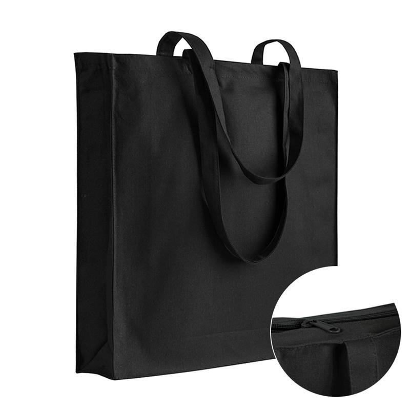 shopper in cotone nero con soffietti chiusura zip e manici cotone