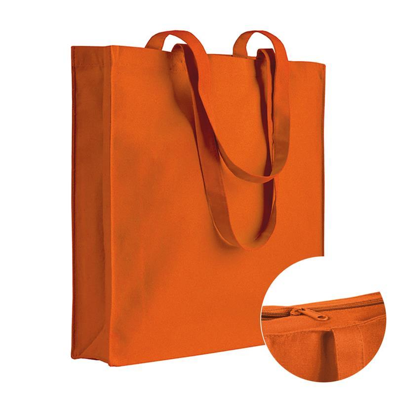 shopper in cotone arancio con soffietti chiusura zip e manici cotone