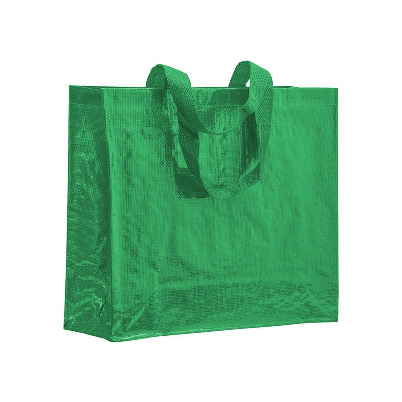 shopper in pp laminato lucido verde con soffietti laterali e manici