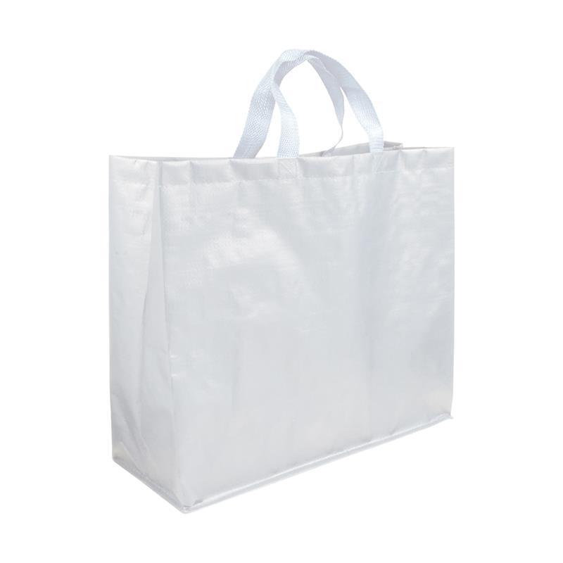 shopper in pp laminato opaco bianco con soffietti laterali e manici