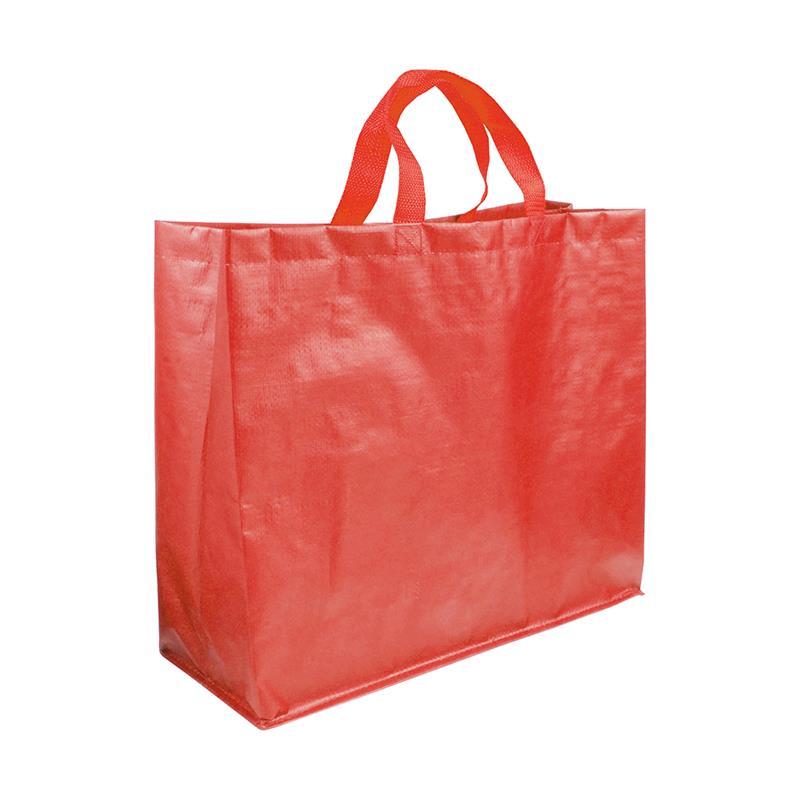 shopper in pp laminato opaco rosso con soffietti laterali e manici