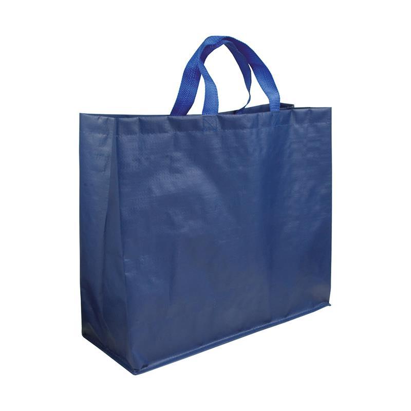 shopper in pp laminato opaco blu navy con soffietti laterali e manici