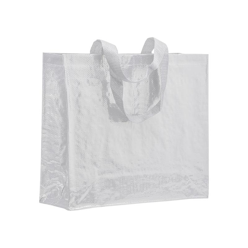 shopper in pp laminato bianco con soffietti laterali e manici