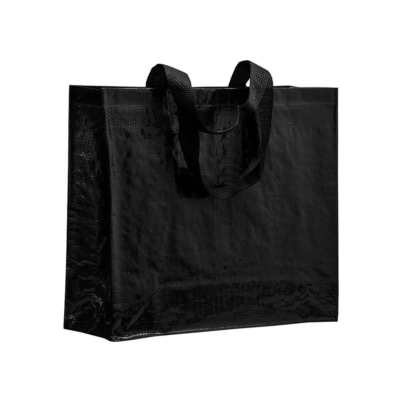 shopper in pp laminato nero con soffietti laterali e manici