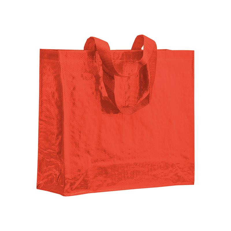 shopper in pp laminato rosso con soffietti laterali e manici