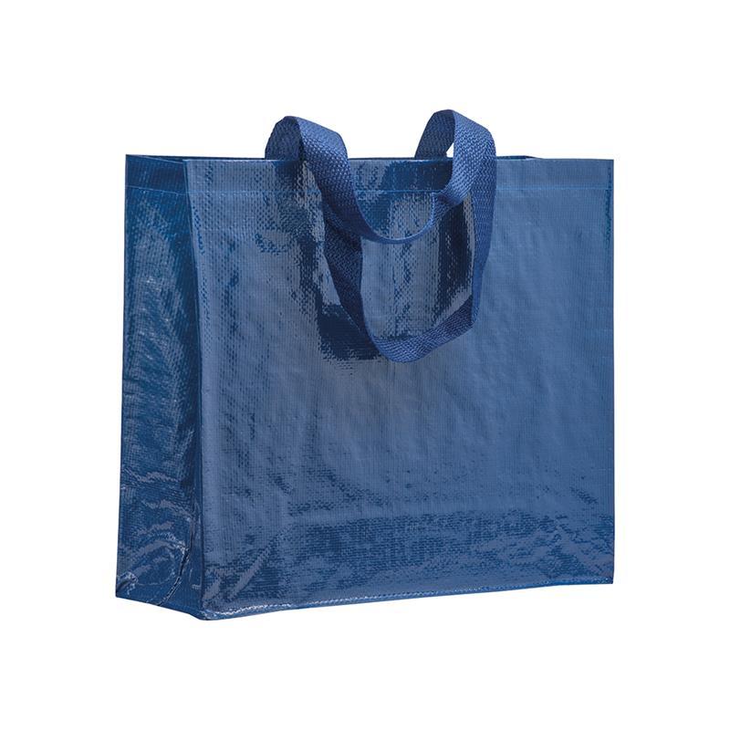 shopper in pp laminato blu navy con soffietti laterali e manici