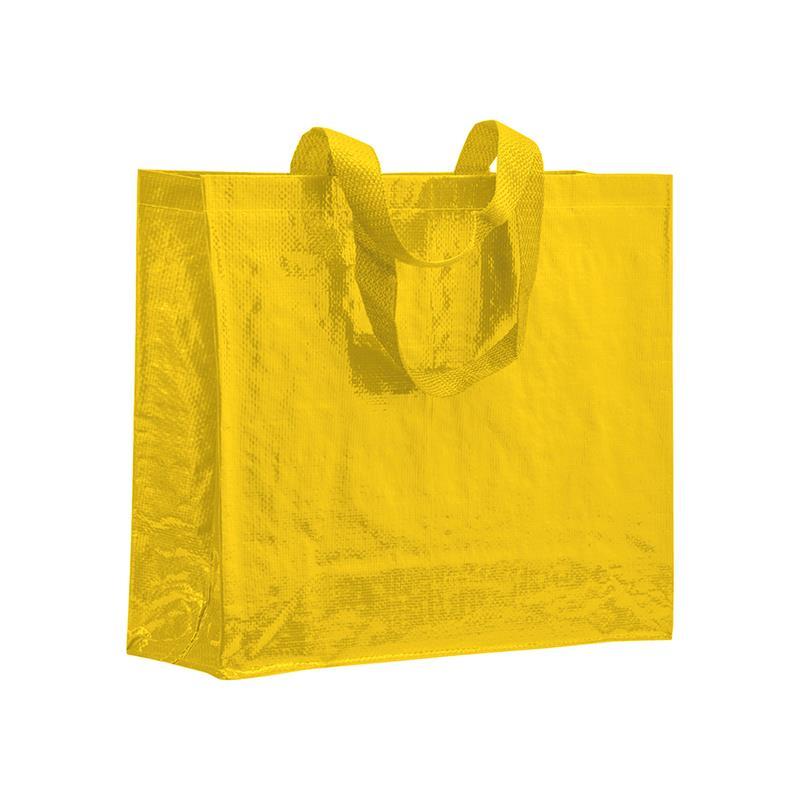 shopper in pp laminato giallo con soffietti laterali e manici