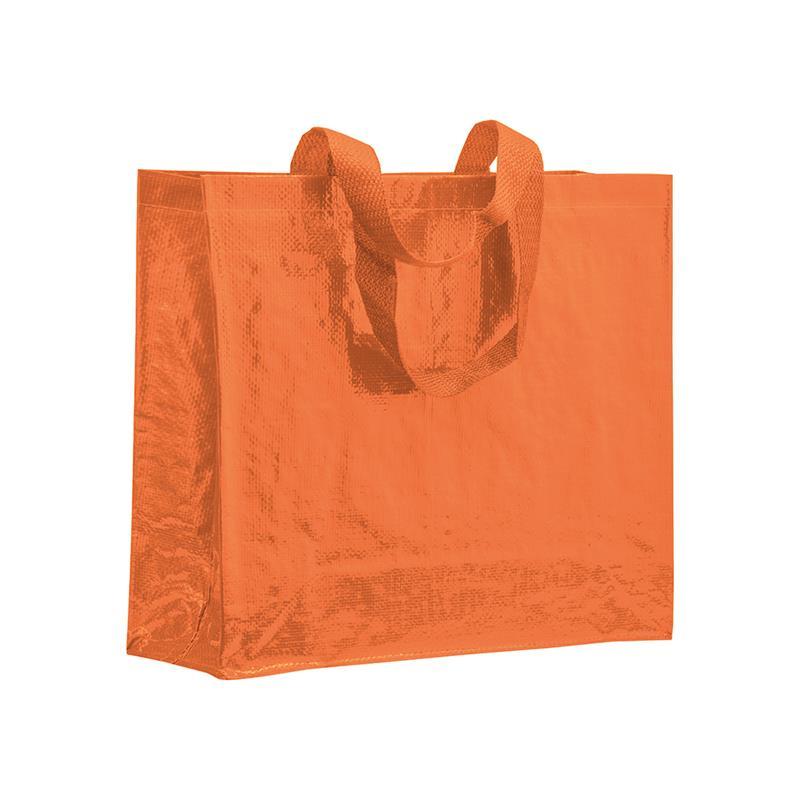 shopper in pp laminato arancio con soffietti laterali e manici