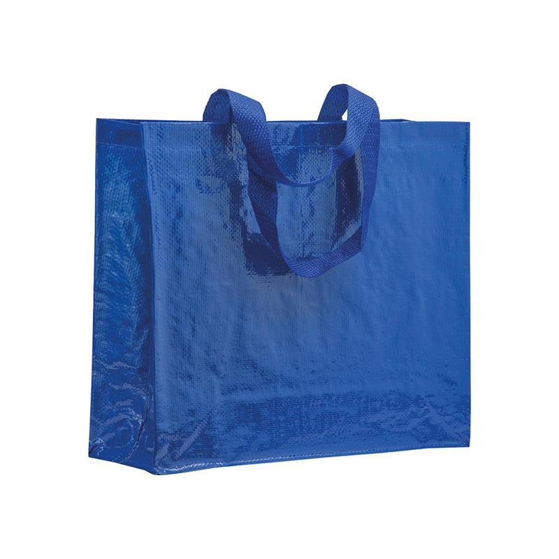 shopper in pp laminato blu royal con soffietti laterali e manici