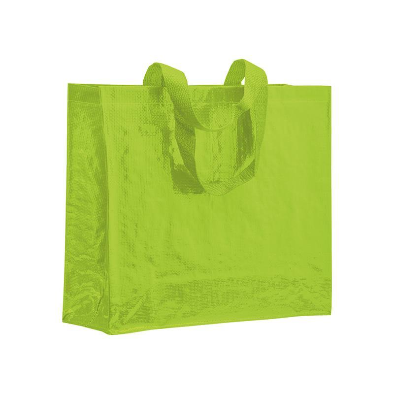 shopper in pp laminato verde mela con soffietti laterali e manici