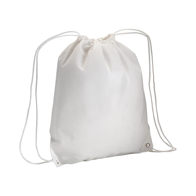 sacca in tnt bianco con lacci in polipropilene