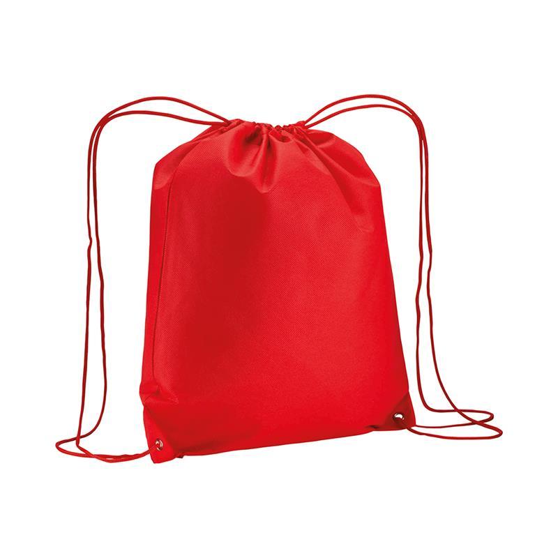 sacca in tnt rosso con lacci in polipropilene