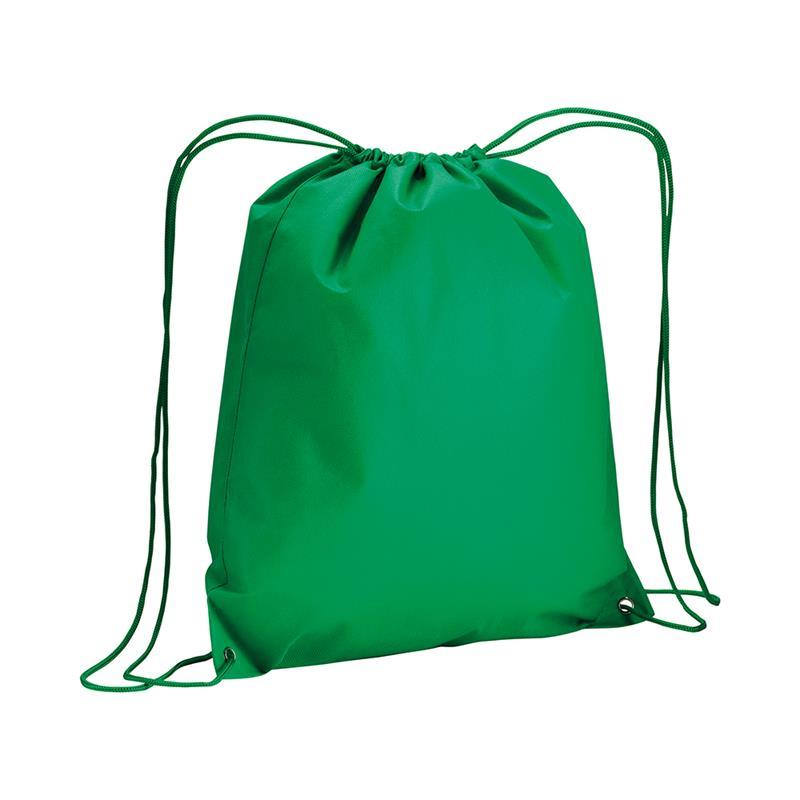 sacca in tnt verde con lacci in polipropilene