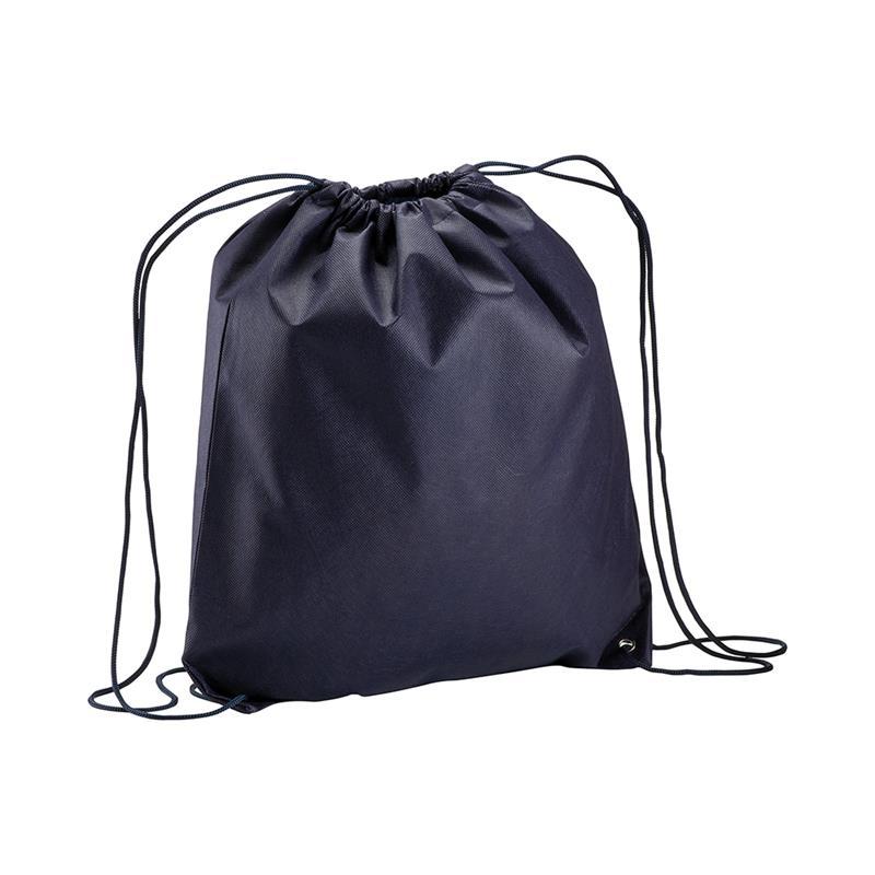 sacca in tnt blu navy con lacci in polipropilene