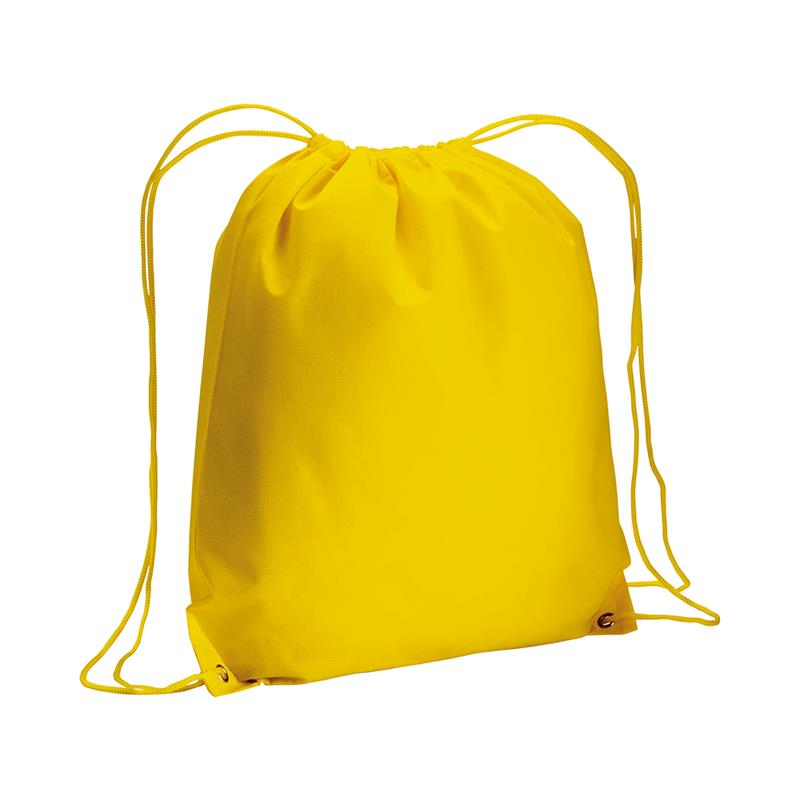sacca in tnt giallo con lacci in polipropilene