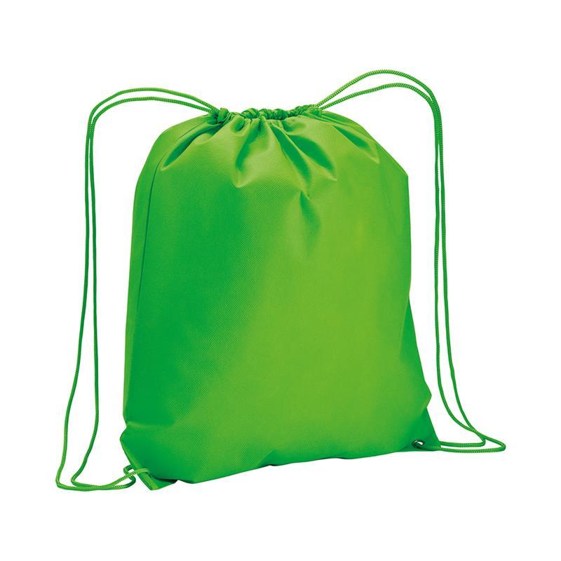 sacca in tnt verde mela con lacci in polipropilene