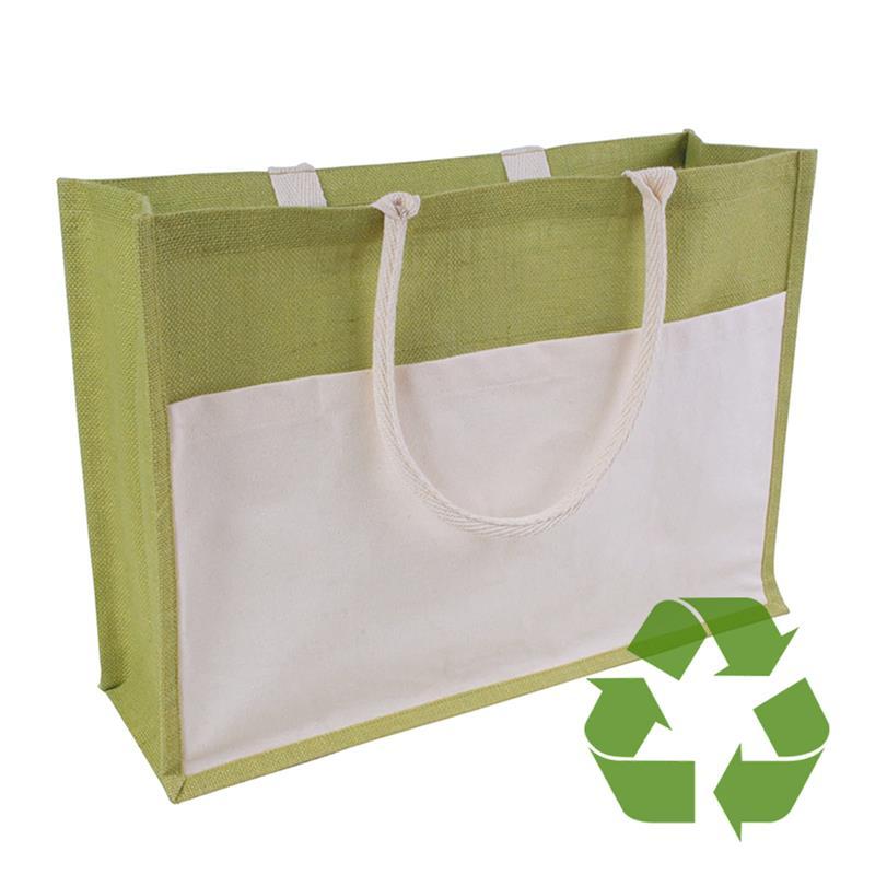 bag verde in cotone e juta interno cerato soffietto e tasca frontale