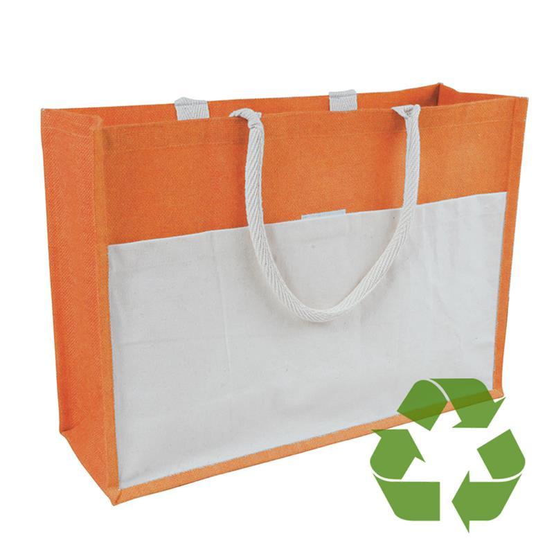 bag arancio in cotone e juta interno cerato soffietto e tasca frontale