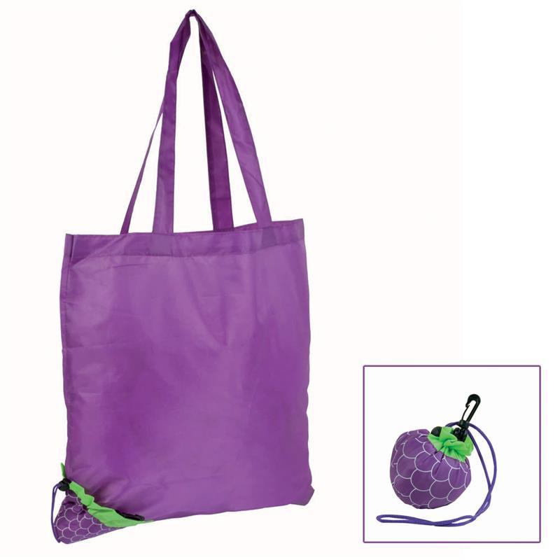 shopper poliestere violetto ripiegabile a forma di mora