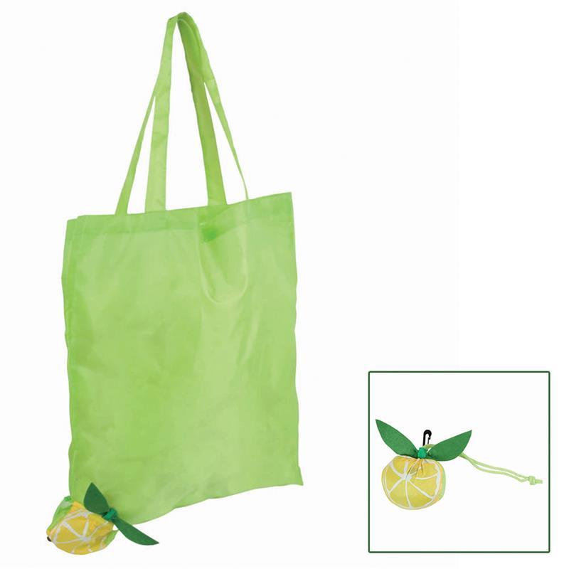shopper poliestere verde mela ripiegabile a forma di lime