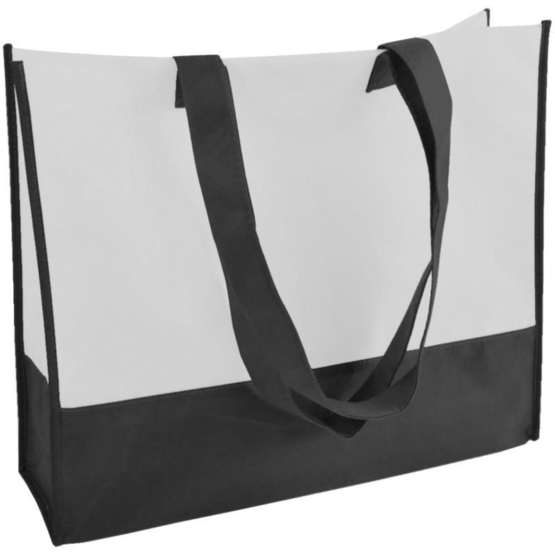 shopper in tnt bicolore nero/bianco con soffietti manici tnt