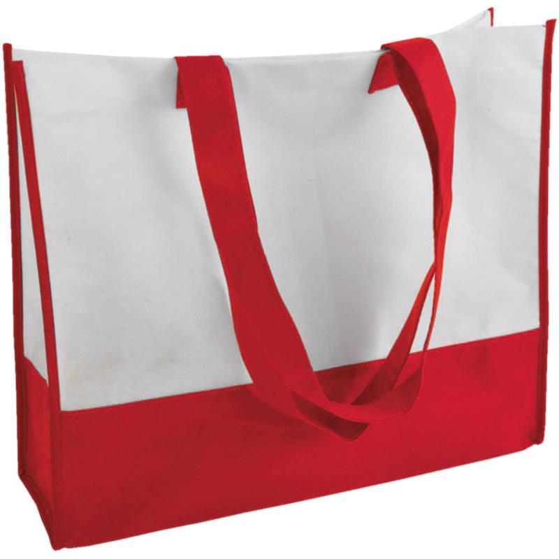 shopper in tnt bicolore rosso/bianco con soffietti manici tnt