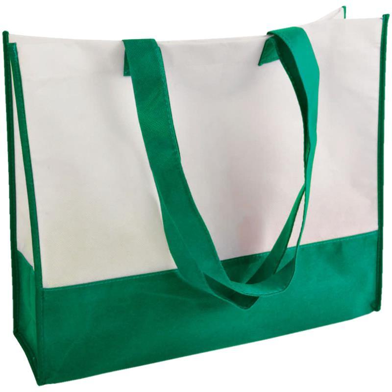 shopper in tnt bicolore verde/bianco con soffietti manici tnt