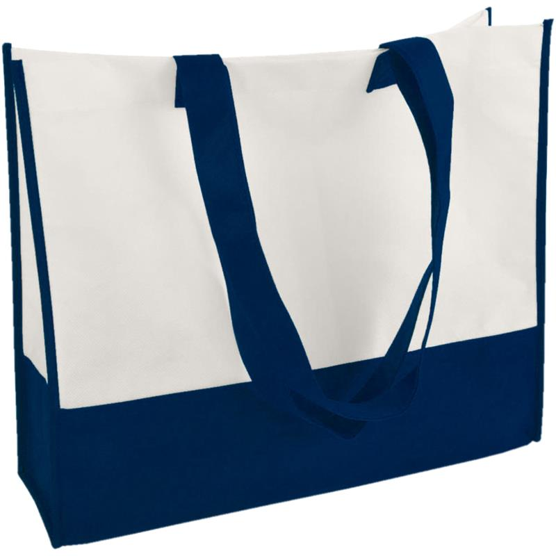shopper in tnt bicolore navy/bianco con soffietti manici tnt