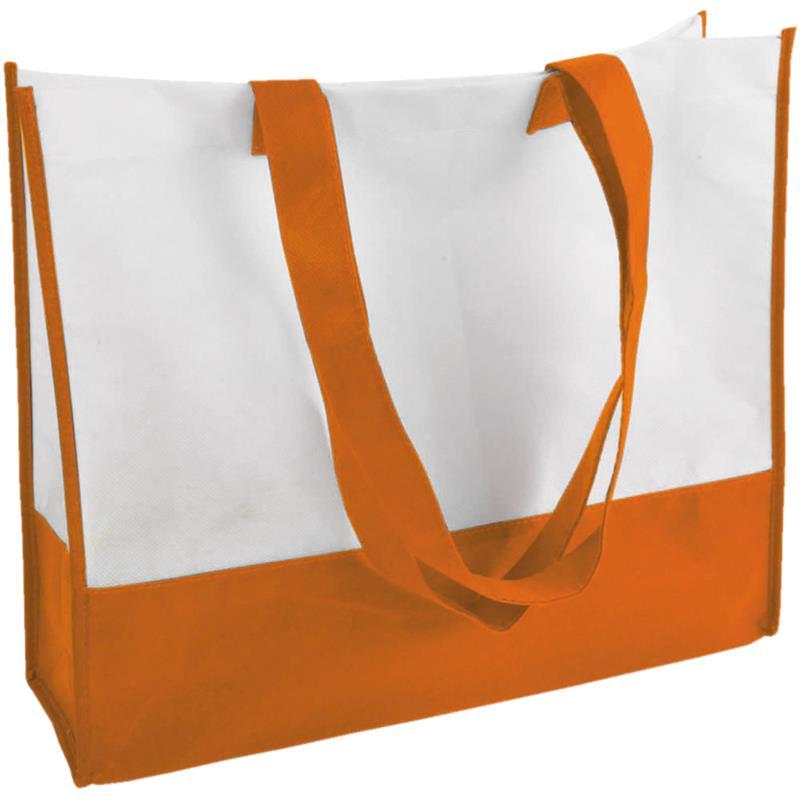 shopper in tnt bicolore arancio/bianco con soffietti manici tnt